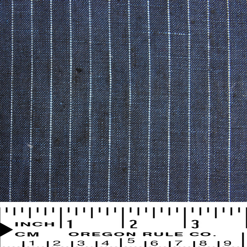 Linen Yarn Dyed Pinstripes - Dark Blue - woven - Earth Indigo