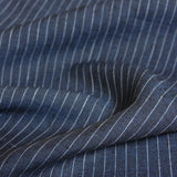 Linen Yarn Dyed Pinstripes - Dark Blue - [product_typpe] - Earth Indigo