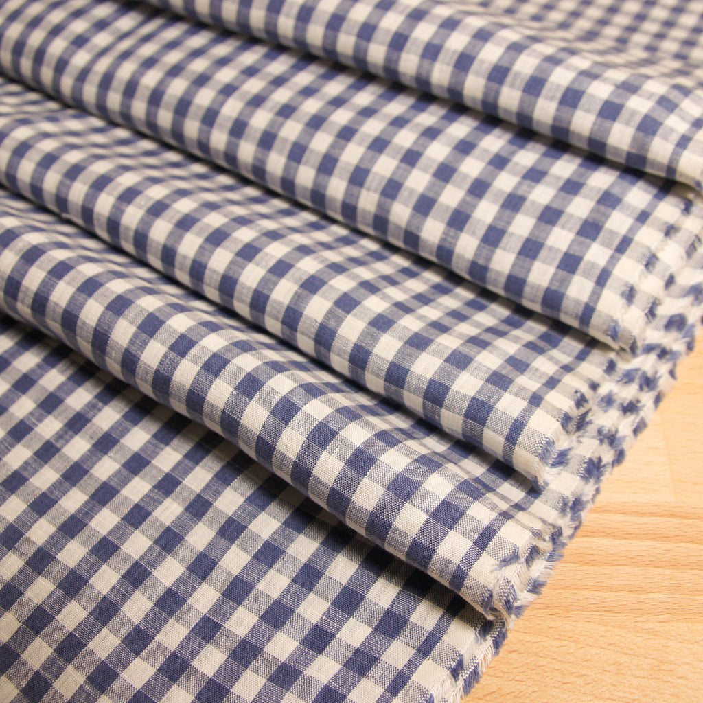 Linen Yarn Dyed Gingham -  2 colours - woven - Earth Indigo