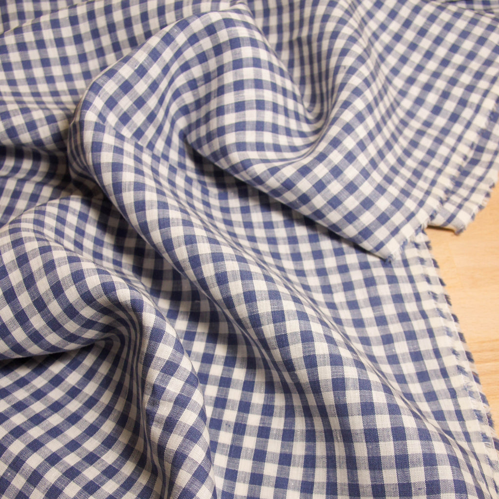 Linen Yarn Dyed Gingham -  2 colours - [product_typpe] - Earth Indigo