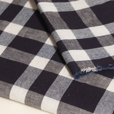 Linen Cotton Yarn Dyed Plaid - Blue Natural and White