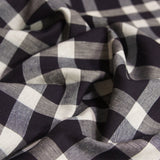 Linen Cotton Yarn Dyed Check - Deep Navy and Natural - woven - Earth Indigo