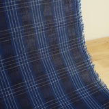 Linen Cotton Yarn Dyed Jacquard Plaid - Blue and White - woven - Earth Indigo