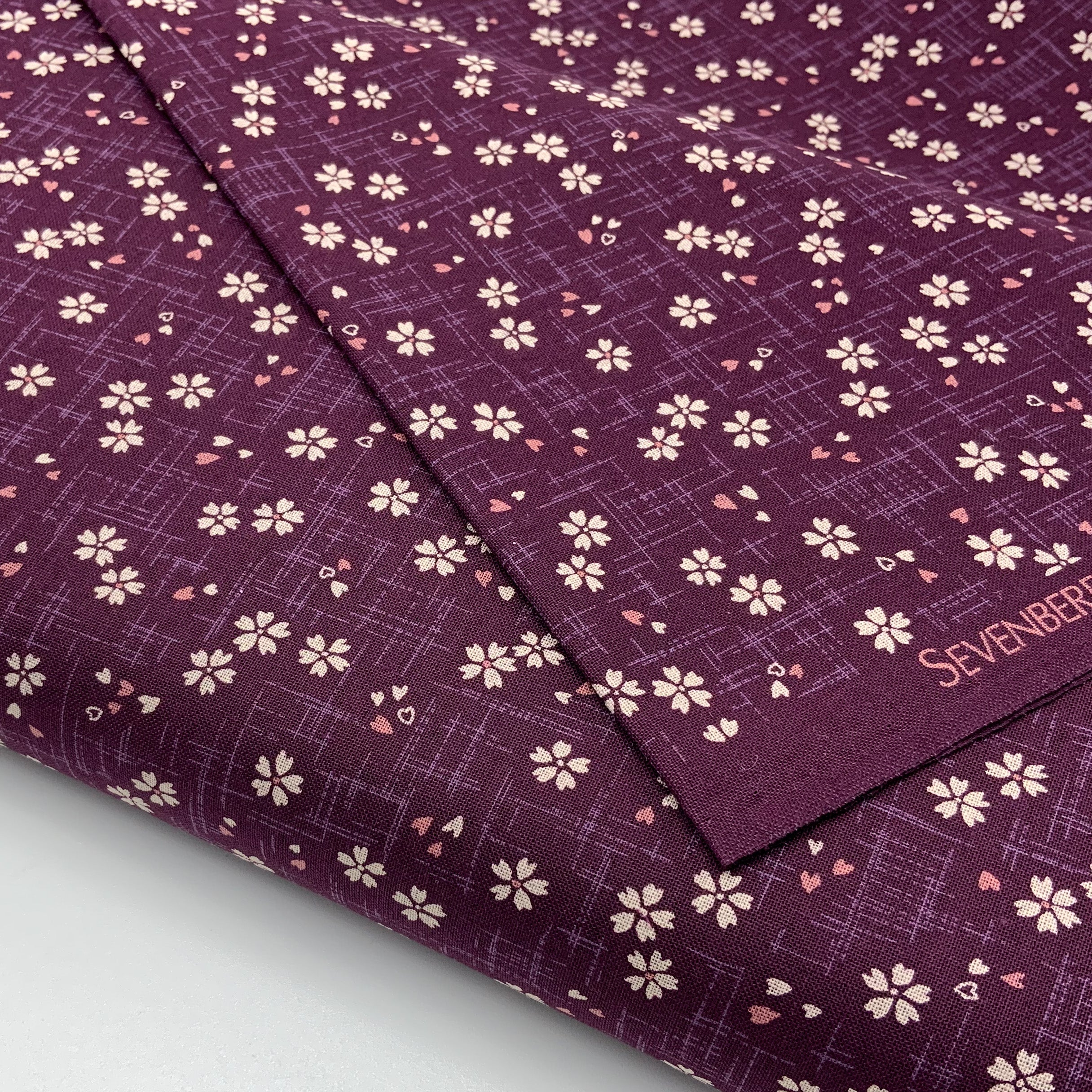 Japanese Cotton Sheeting Print - Cherry Blossom with Falling Petals Purple