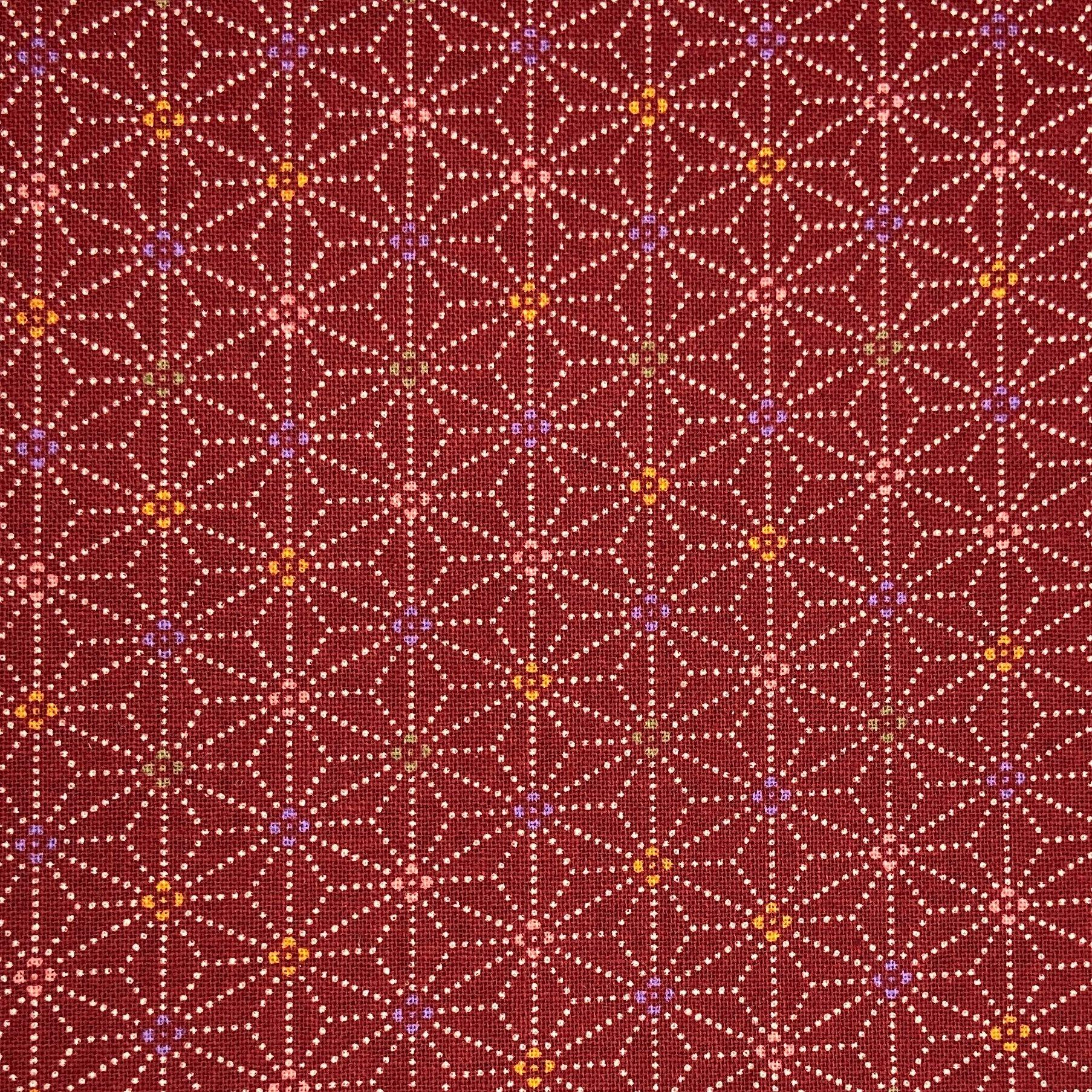 Japanese Cotton Sheeting Print - Hemp Leaves with Coloured Centre Red - Earth Indigo