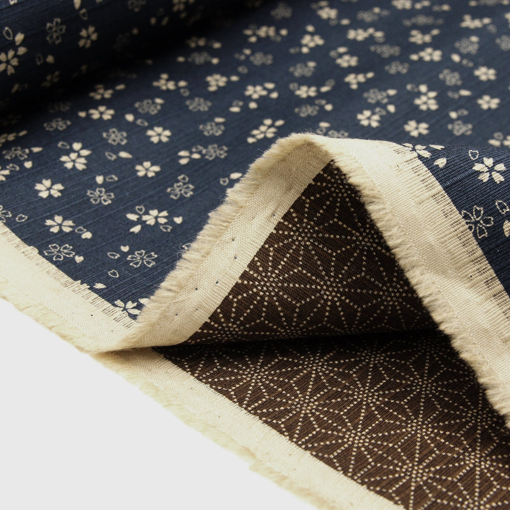 Japanese Cotton Dobby Double Sided Print - Navy Sakura and Tea Hemp Leaves
