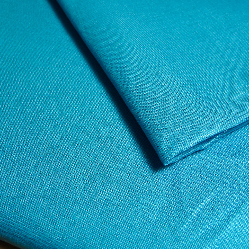 Metallic Linen - Turquoise Blue - woven - Earth Indigo