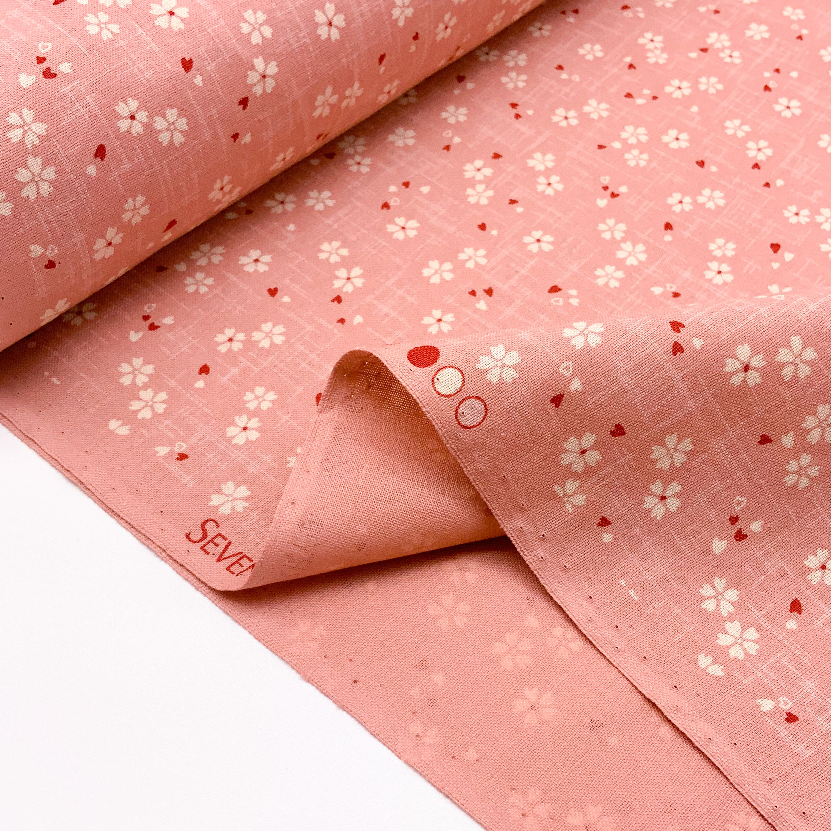 Japanese Cotton Sheeting Print - Cherry Blossom with Falling Petals Pink