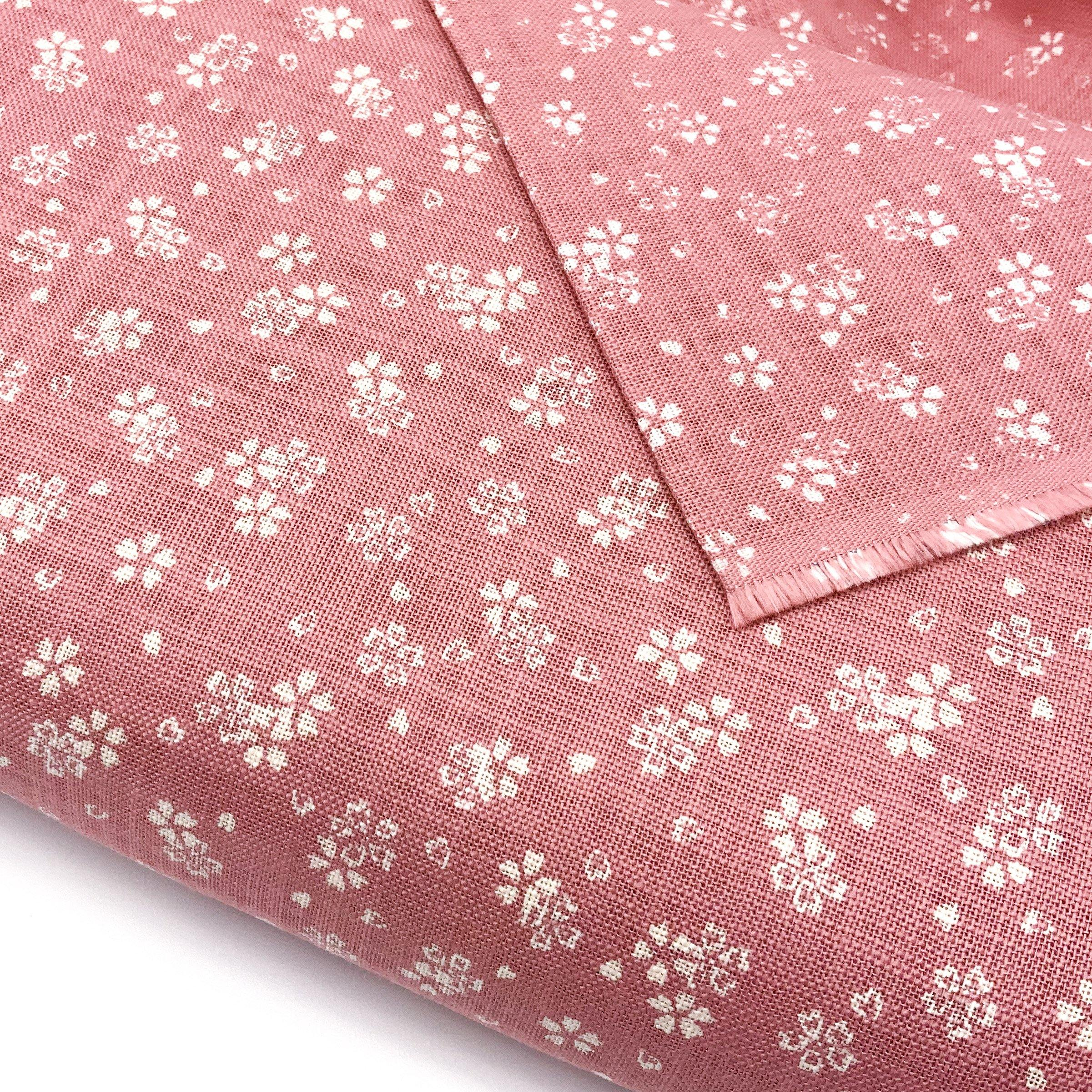 Japanese Cotton Uneven Yarns Sheeting Print - Cherry Blossoms Pink - Earth Indigo