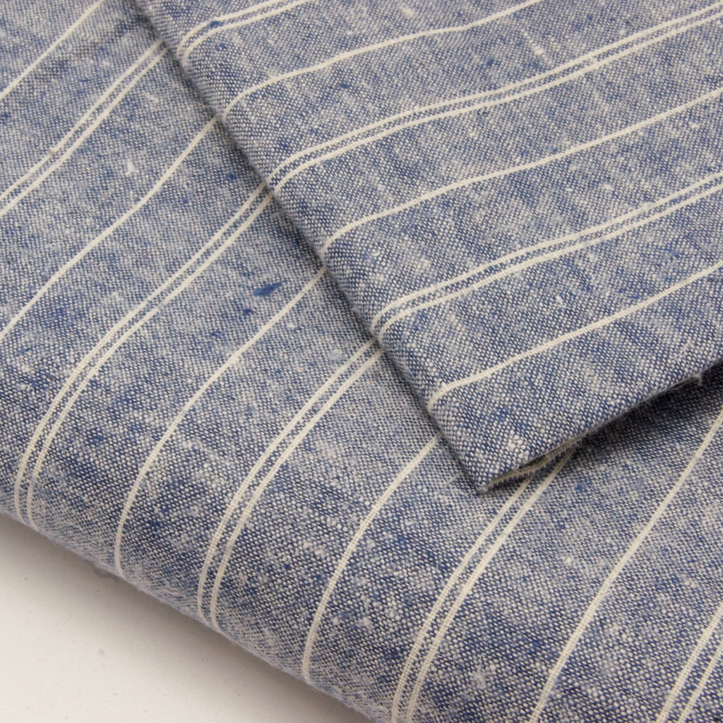 Hemp Organic Cotton Lightweight - Denim Stripe - woven - Earth Indigo