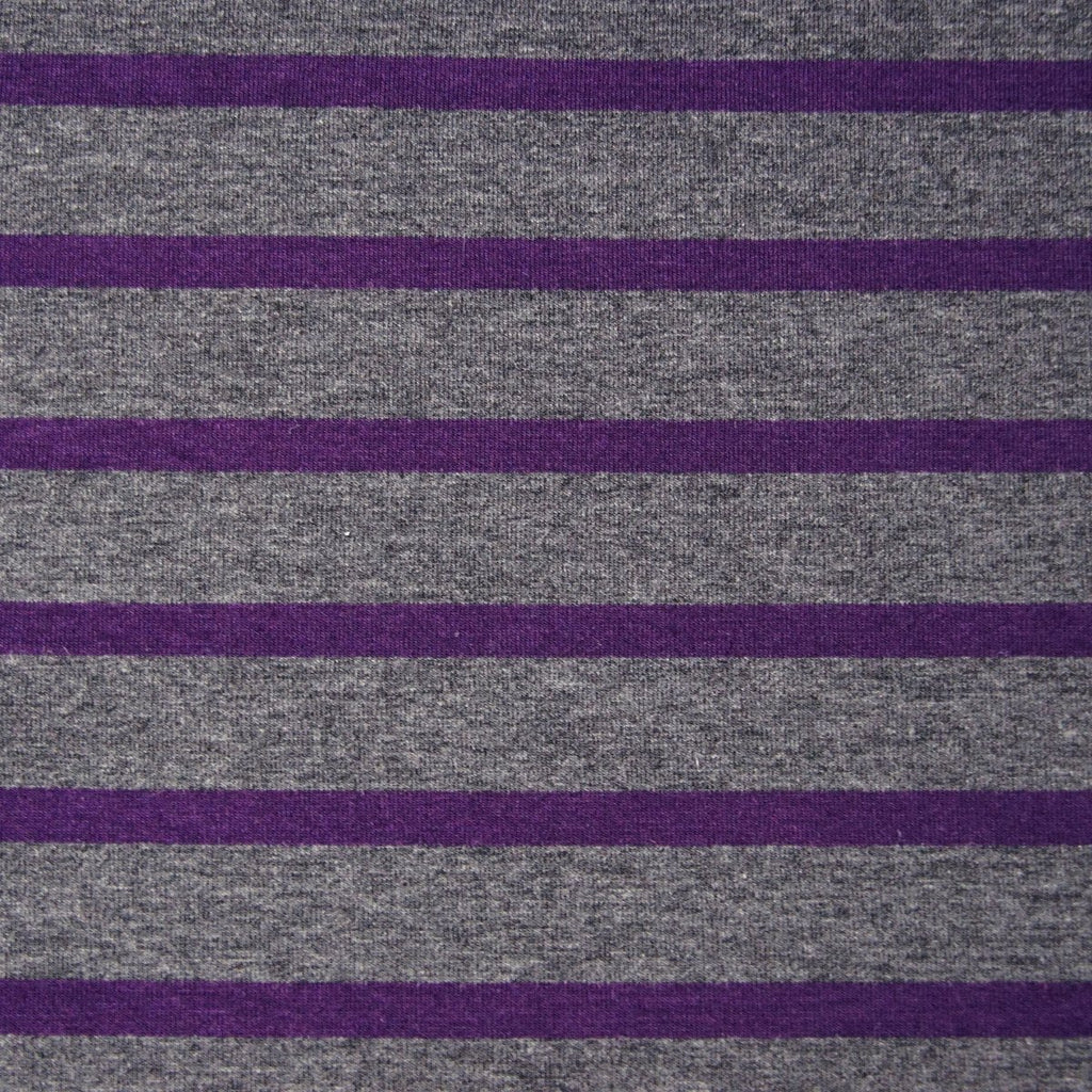 Bamboo Cotton Spandex Jersey Stripes - Charcoal Plum - [product_typpe] - Earth Indigo