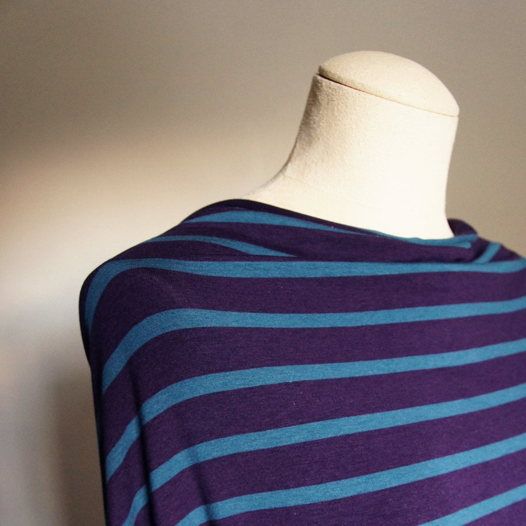 Bamboo Cotton Spandex Jersey Stripes - Plum Everglade - Knit - Earth Indigo