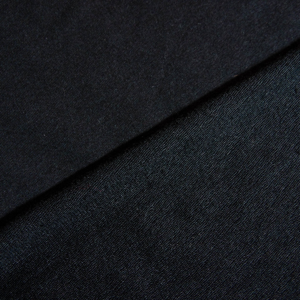 Bamboo Cotton Spandex French Terry Fabric - Black - Knit - Earth Indigo