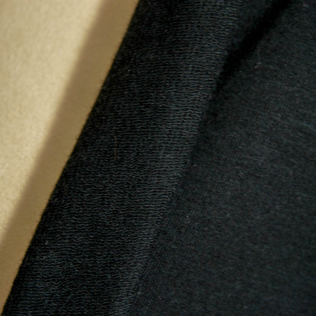 Tencel Organic Cotton Spandex French Terry Fabric - Black - Knit - Earth Indigo