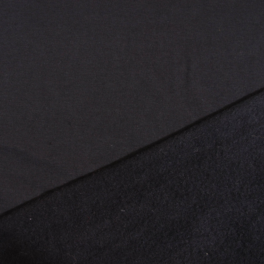 Bamboo Cotton Spandex Stretch Fleece - Black - Knit - Earth Indigo