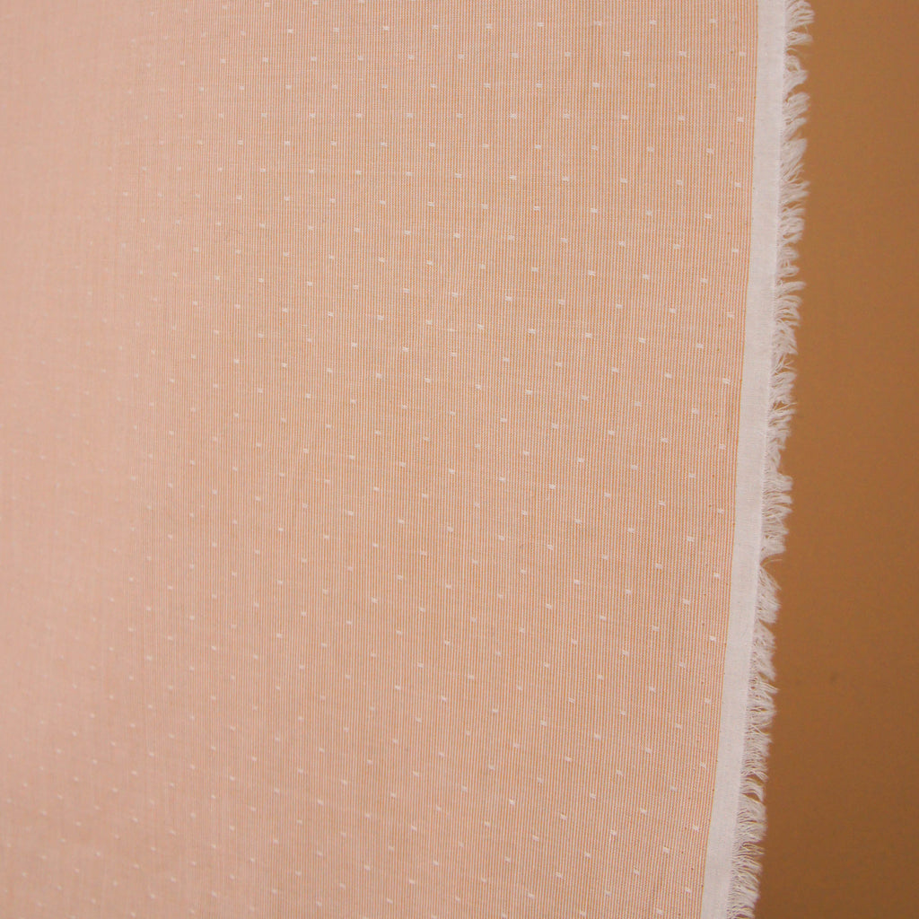Cotton Dobby - Japanese Peach Pink Fine Stripes & Dots - woven - Earth Indigo