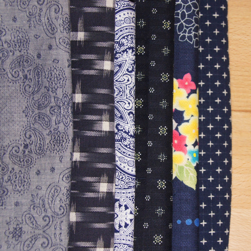 Cotton Dobby Print - Japanese Floral - woven - Earth Indigo
