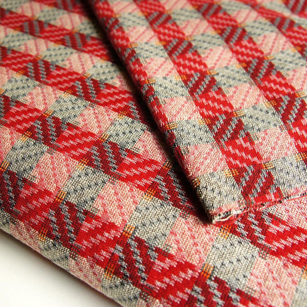 Dhaka - Red Chevron Diamond Nepalese Handloom - [product_typpe] - Earth Indigo
