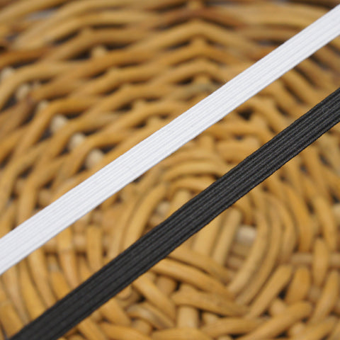 "Flat Elastic - 3mm or 1/8"" in Black or White"