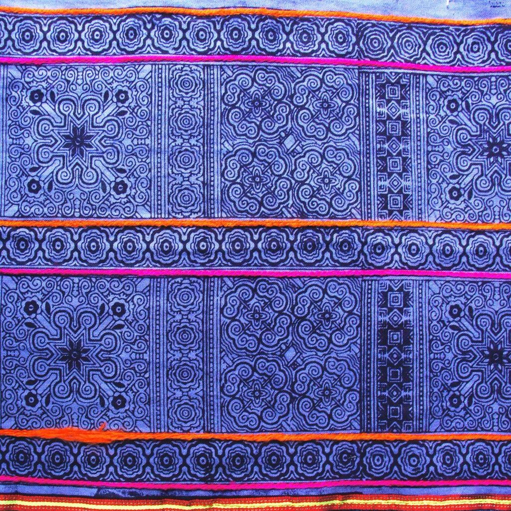 Batik Embroidered Roll - Blue Hmong Hill Tribe Handprinted Style B - [product_typpe] - Earth Indigo