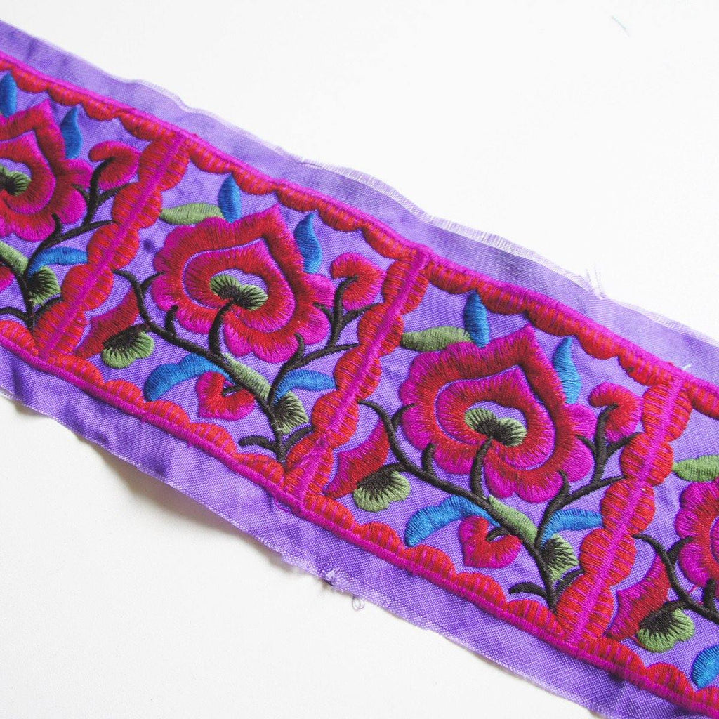Embroidered Trim by Metre - Purple Red 100mm wide by Hmong Hill Tribe - [product_typpe] - Earth Indigo