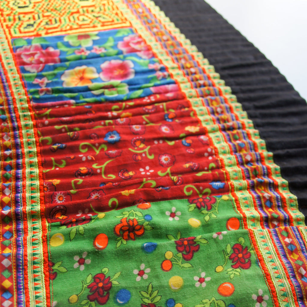 "Vintage Hmong Embroidered Roll - 19.5"" Wide Hand Embroidered - woven - Earth Indigo"