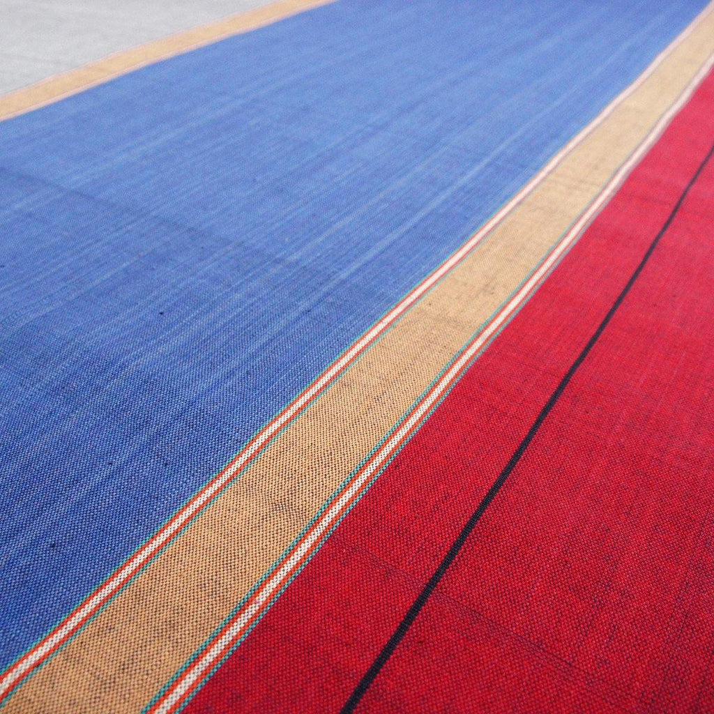 Blue Grey Red Stripe Nepalese Handloom Cotton Fabric