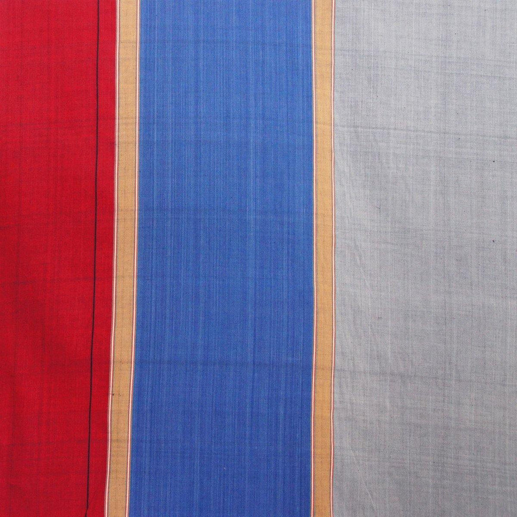 Cotton - Blue Grey Red Stripe Nepalese Handloom - woven - Earth Indigo