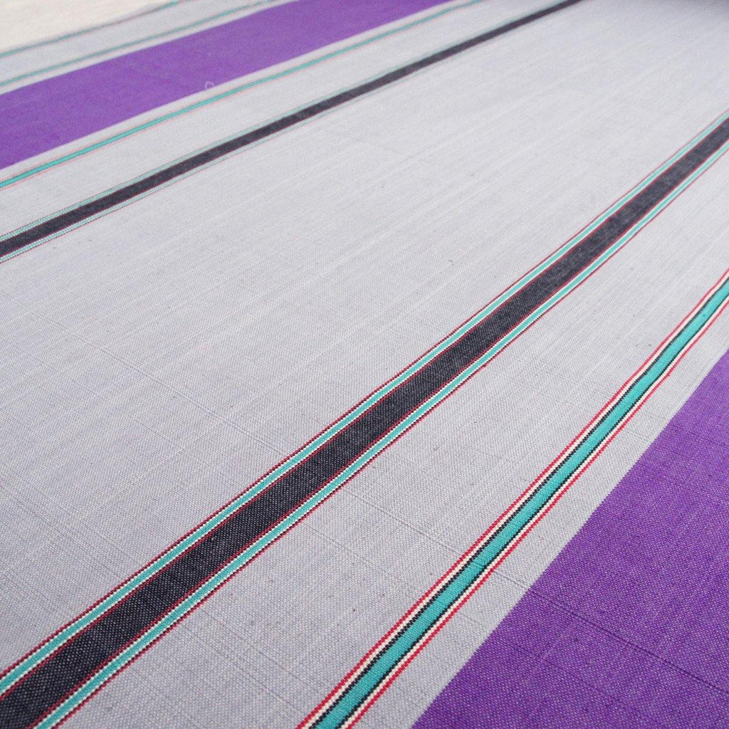 Purple Grey Turquoise Stripe Nepalese Handloom Cotton
