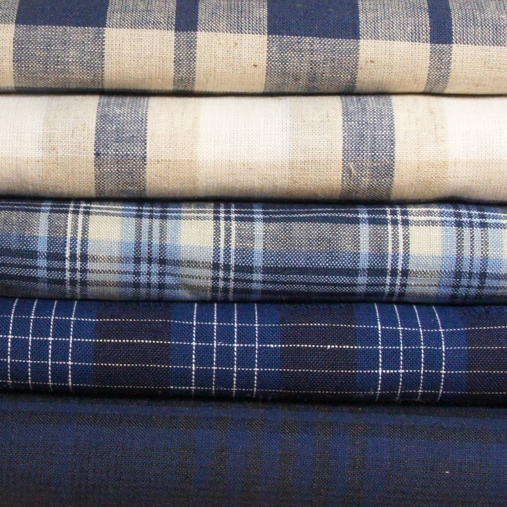 Linen Cotton Yarn Dyed Plaid - Blue and Black - woven - Earth Indigo