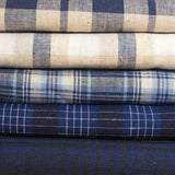 Linen Yarn Dyed Plaid - Dark and Light Blue - woven - Earth Indigo