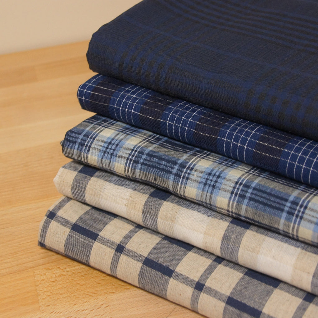 Linen Cotton Yarn Dyed Plaid - Blue and Natural - woven - Earth Indigo