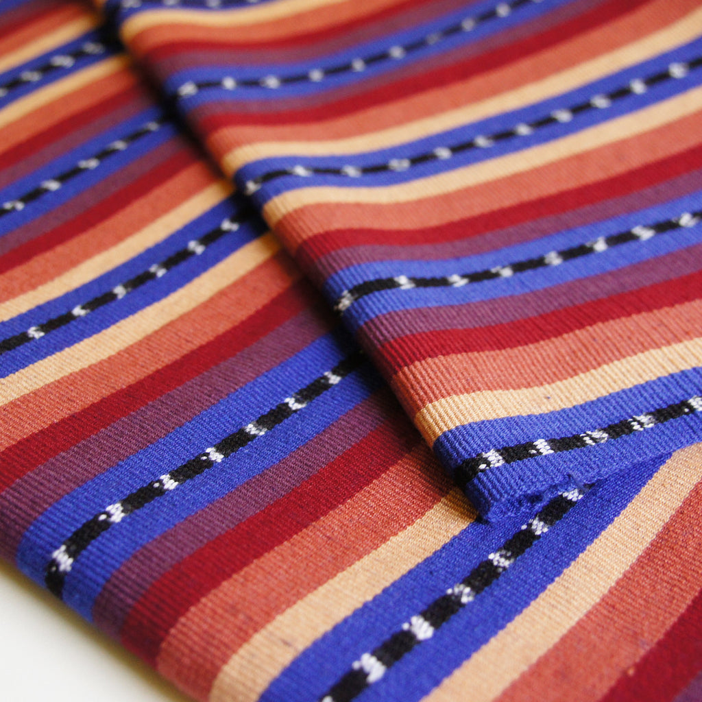 Mayan Stripe Ikat - Blue Red Guatemalan Handwoven - [product_typpe] - Earth Indigo