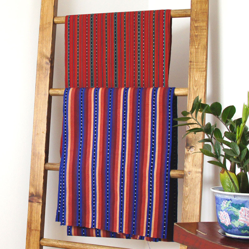 Mayan Stripe Ikat - Green Red Guatemalan Handwoven - [product_typpe] - Earth Indigo