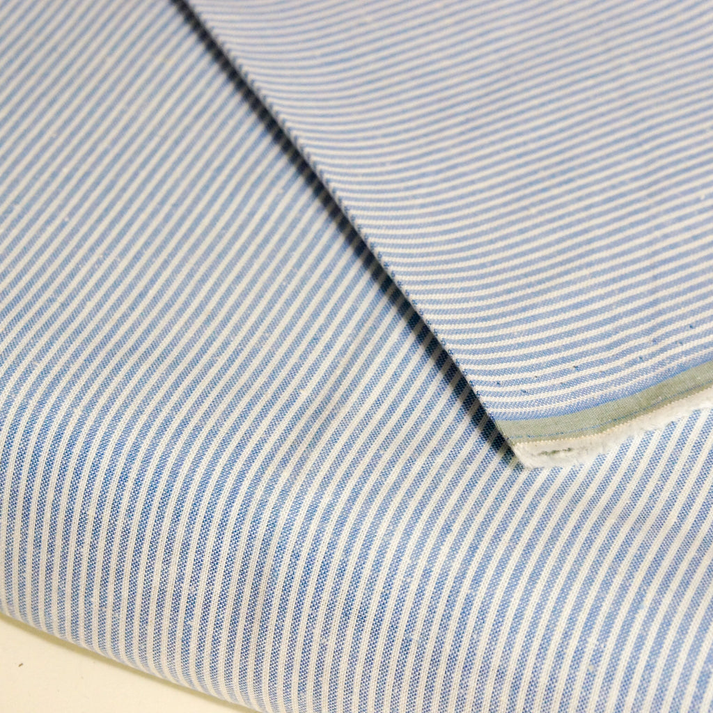 Hemp Organic Cotton Stretch Woven - Blue Micro Stripe - woven - Earth Indigo