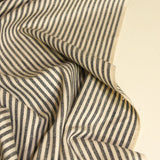 Hemp Organic Cotton Canvas - Black Natural Stripe - woven - Earth Indigo