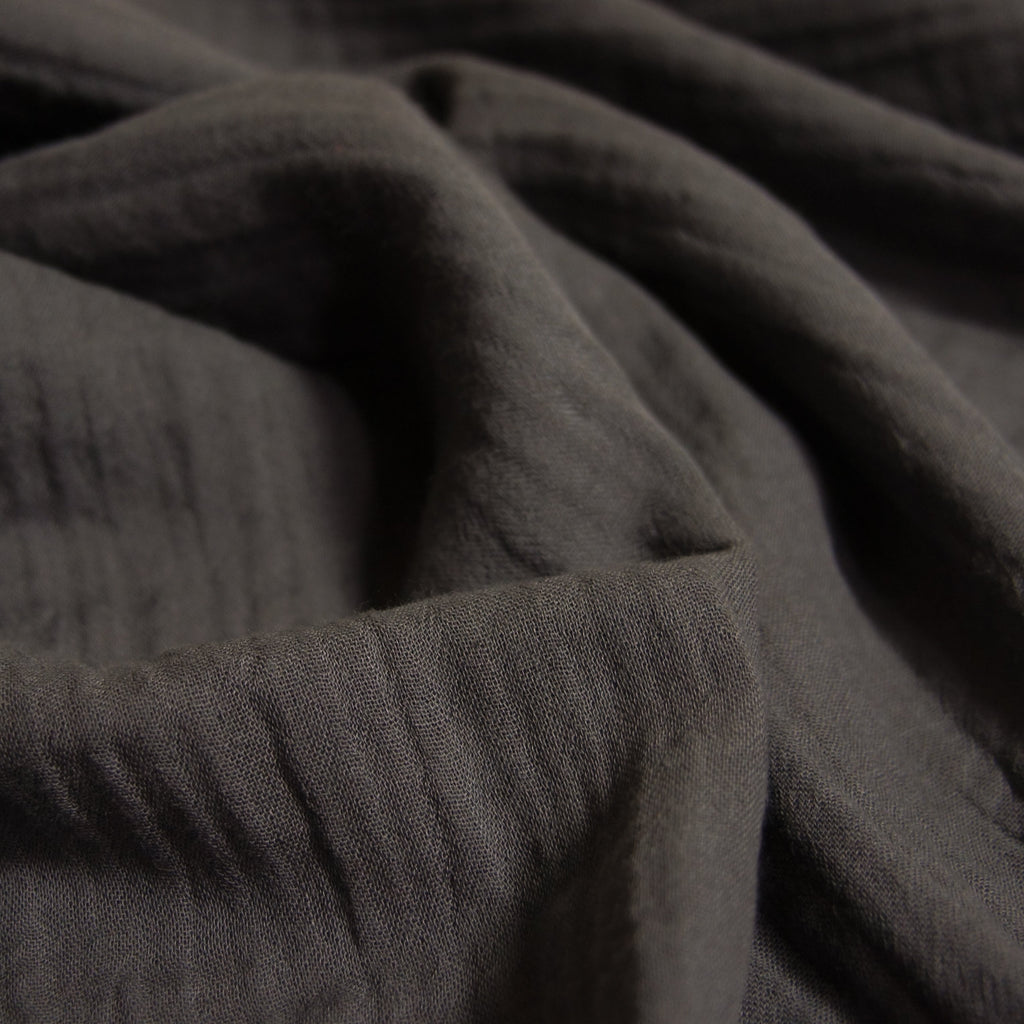 Organic Cotton Double Gauze - Dark Grey - woven - Earth Indigo