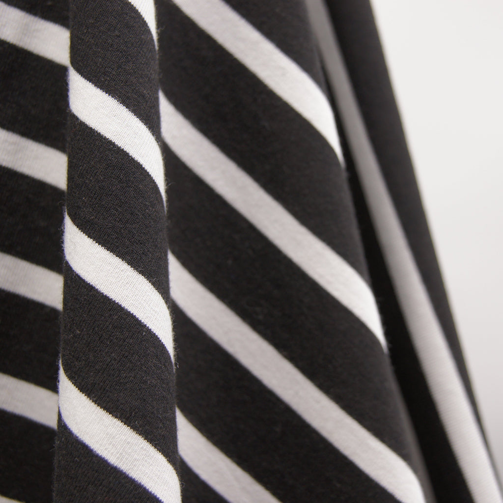 Bamboo Cotton Spandex Jersey Stripes - Black white