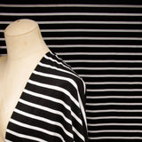 Bamboo Cotton Spandex Jersey Stripes - Black white - Knit - Earth Indigo