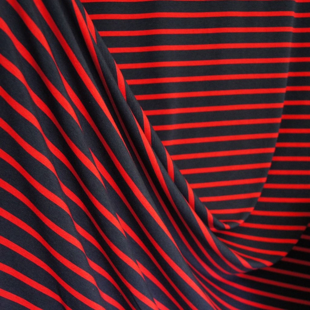 Bamboo Cotton Spandex Jersey Stripes - Navy Red - [product_typpe] - Earth Indigo