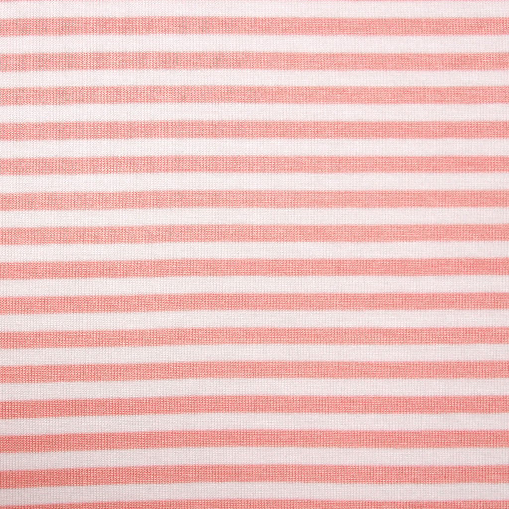 Bamboo Cotton Spandex Stripe Jersey Fabric - Mellow Rose White 4mm Stripes - Knit - Earth Indigo