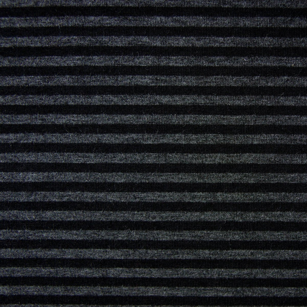 Bamboo Cotton Spandex Stripe Jersey Fabric - Black Charcoal 4mm Stripes - Knit - Earth Indigo