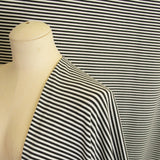 Bamboo Cotton Spandex Stripe Jersey Fabric - Charcoal Ivory 4mm Stripes - Knit - Earth Indigo