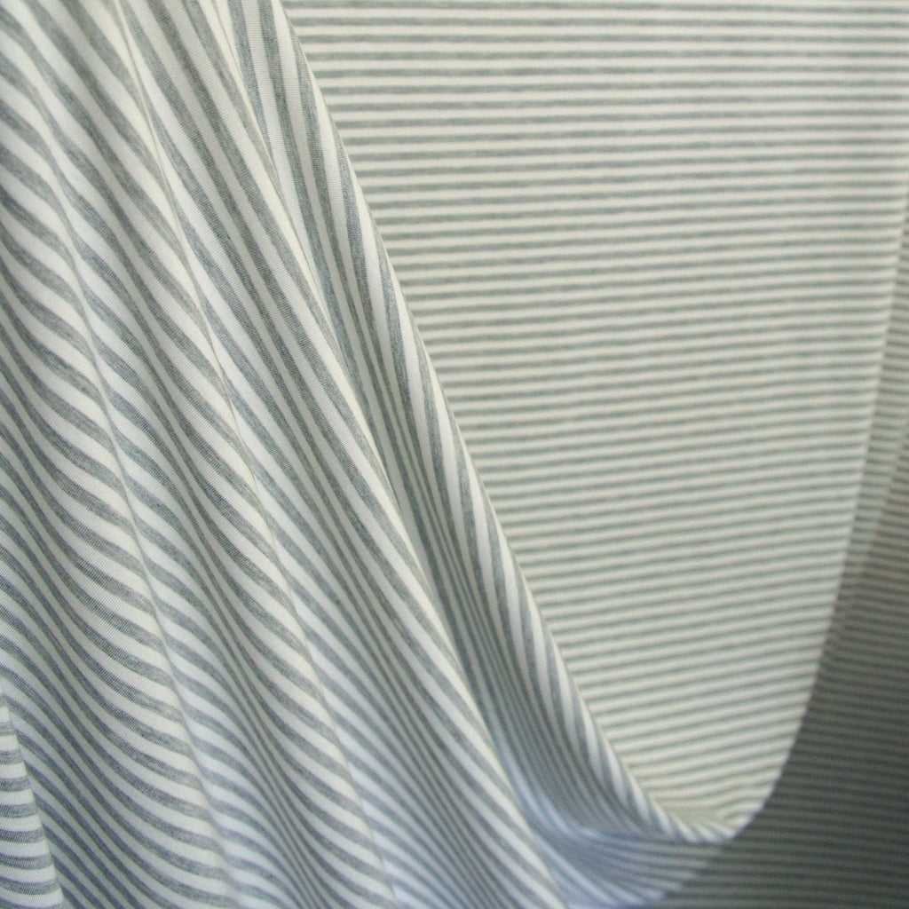 Bamboo Cotton Spandex Stripe Jersey Fabric - Grey Ivory 4mm Stripes - Knit - Earth Indigo