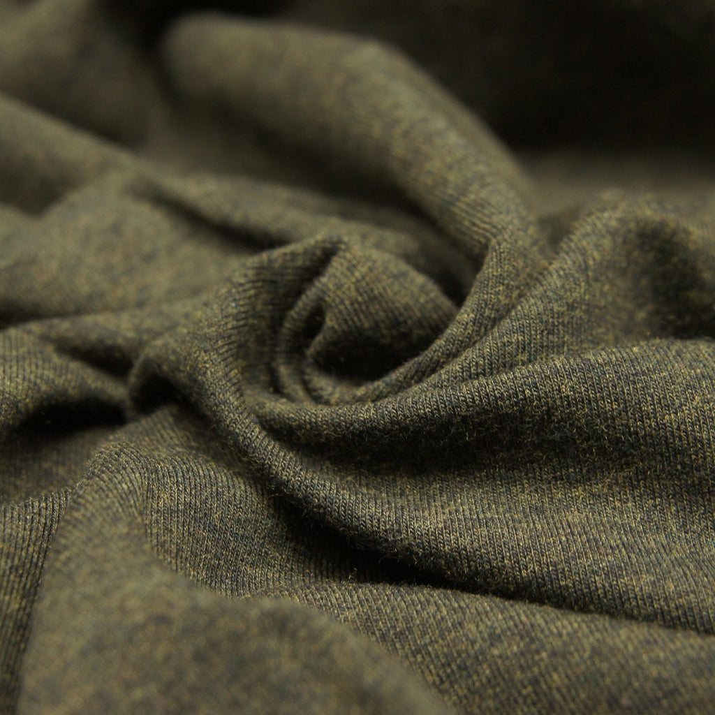 Tencel Organic Cotton Spandex French Terry Fabric - Heather Forest - Knit - Earth Indigo