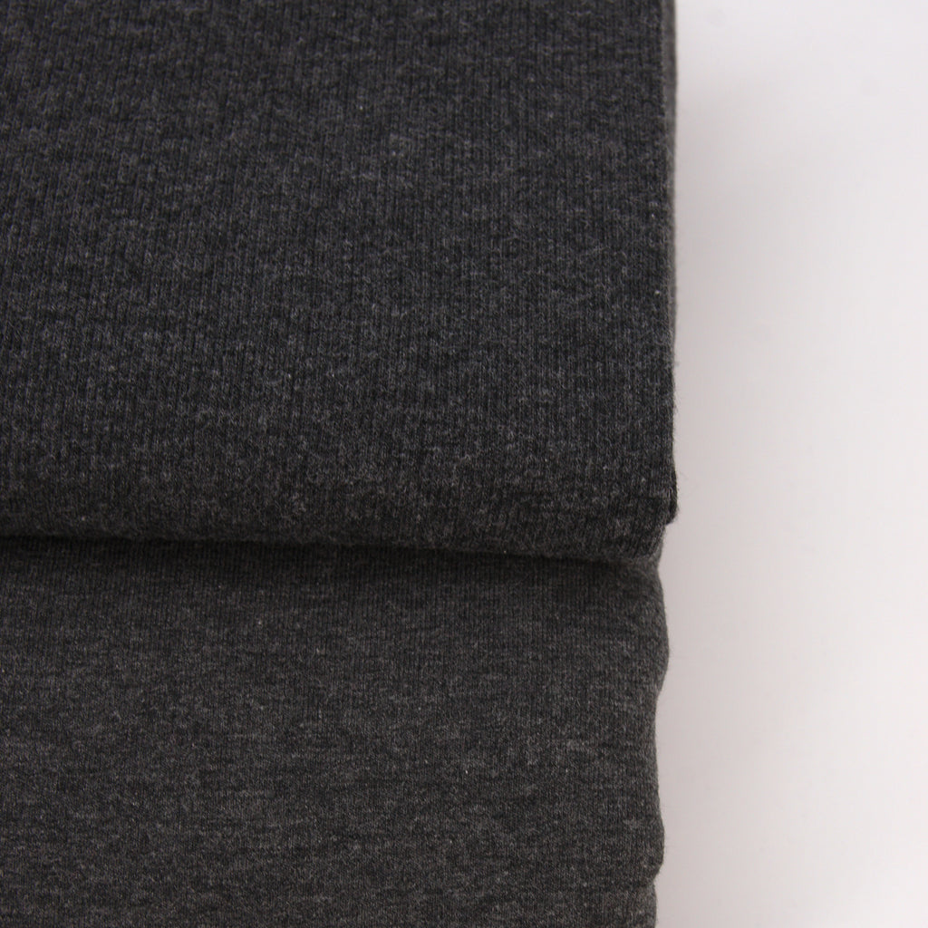 Bamboo Cotton Spandex 2x2 Rib Knit - Charcoal Mix - [product_typpe] - Earth Indigo