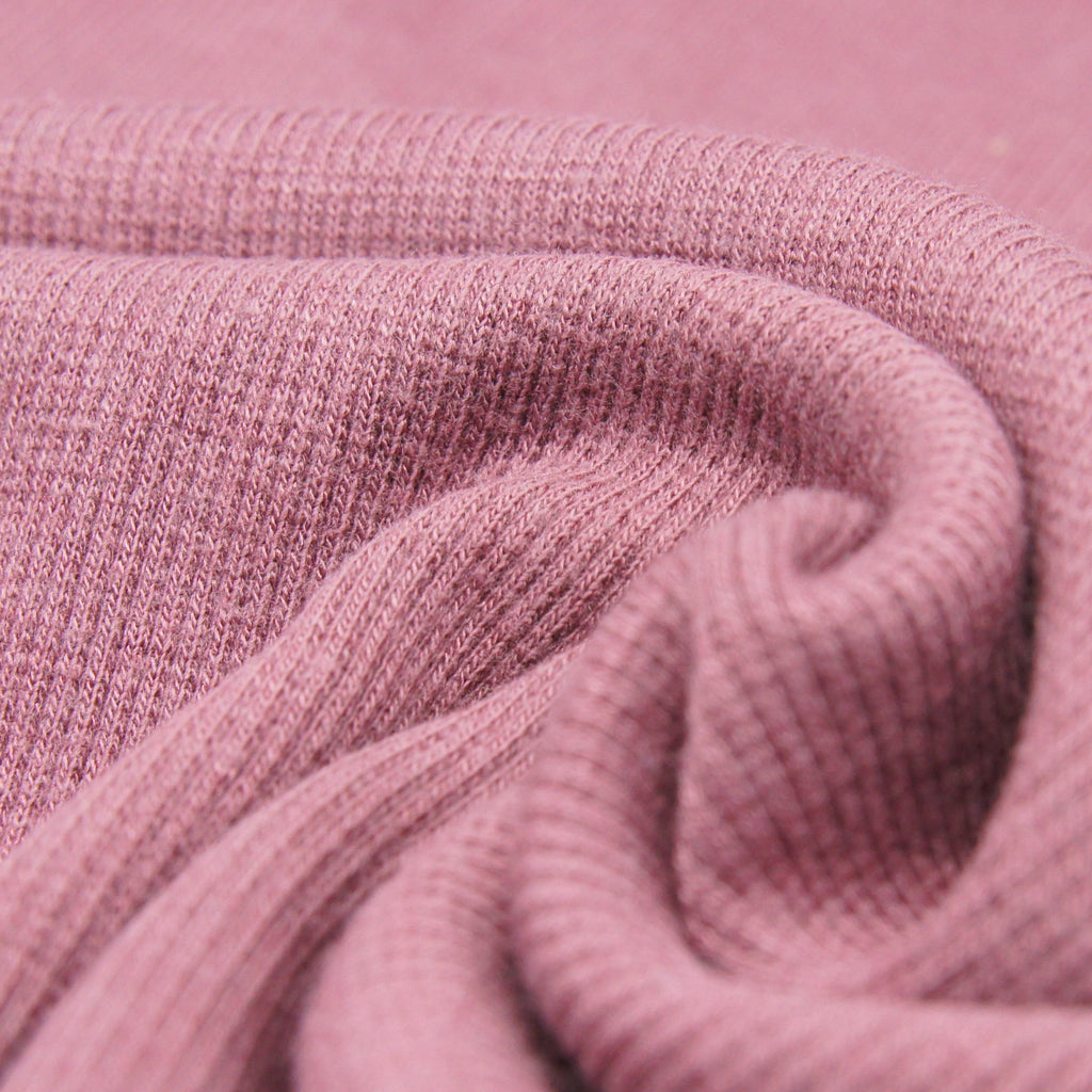 Bamboo Cotton Spandex 2x2 Rib Knit Fabric - Rose Brown