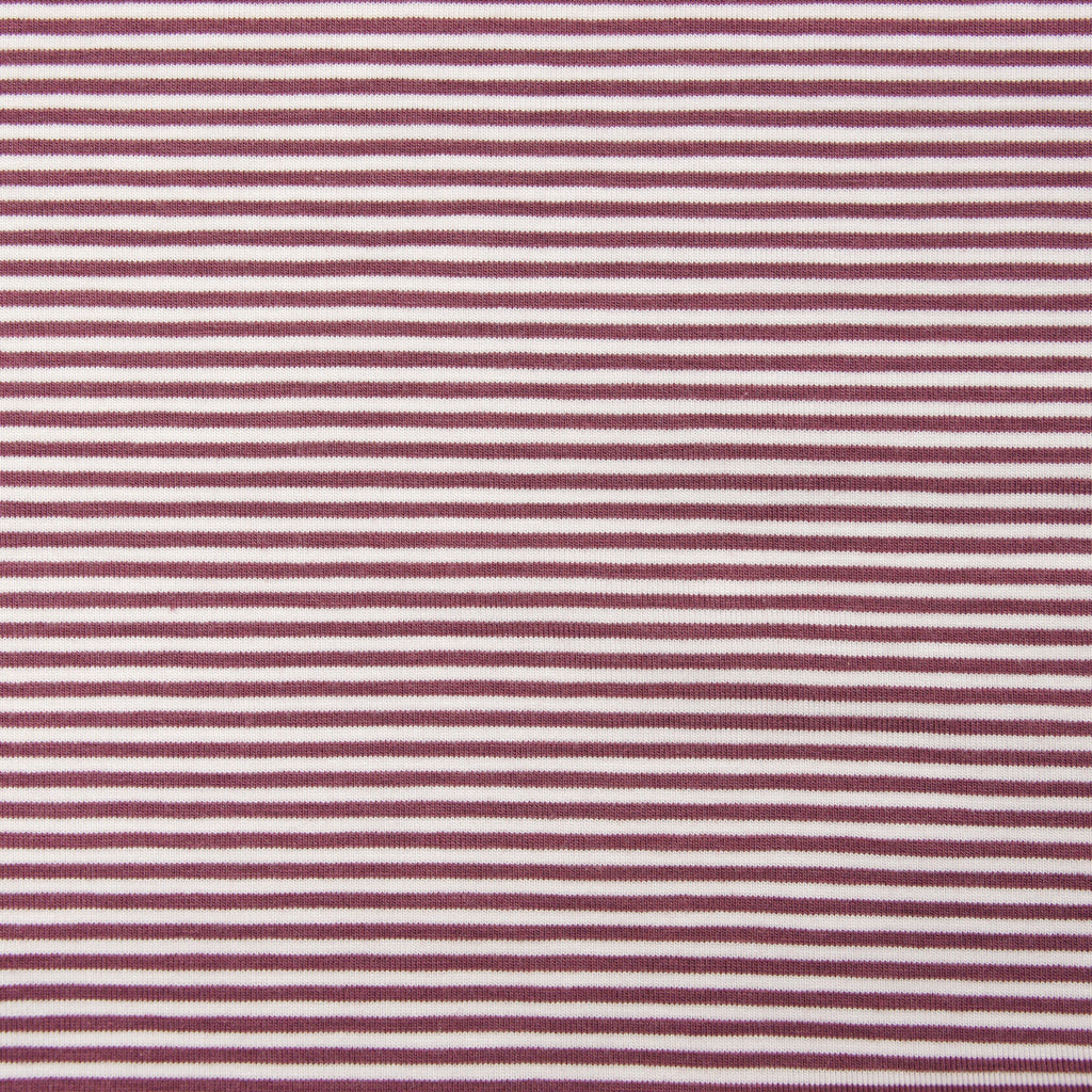 Bamboo Organic Cotton Spandex Jersey - Rose Brown White 2mm Stripes - Knit - Earth Indigo