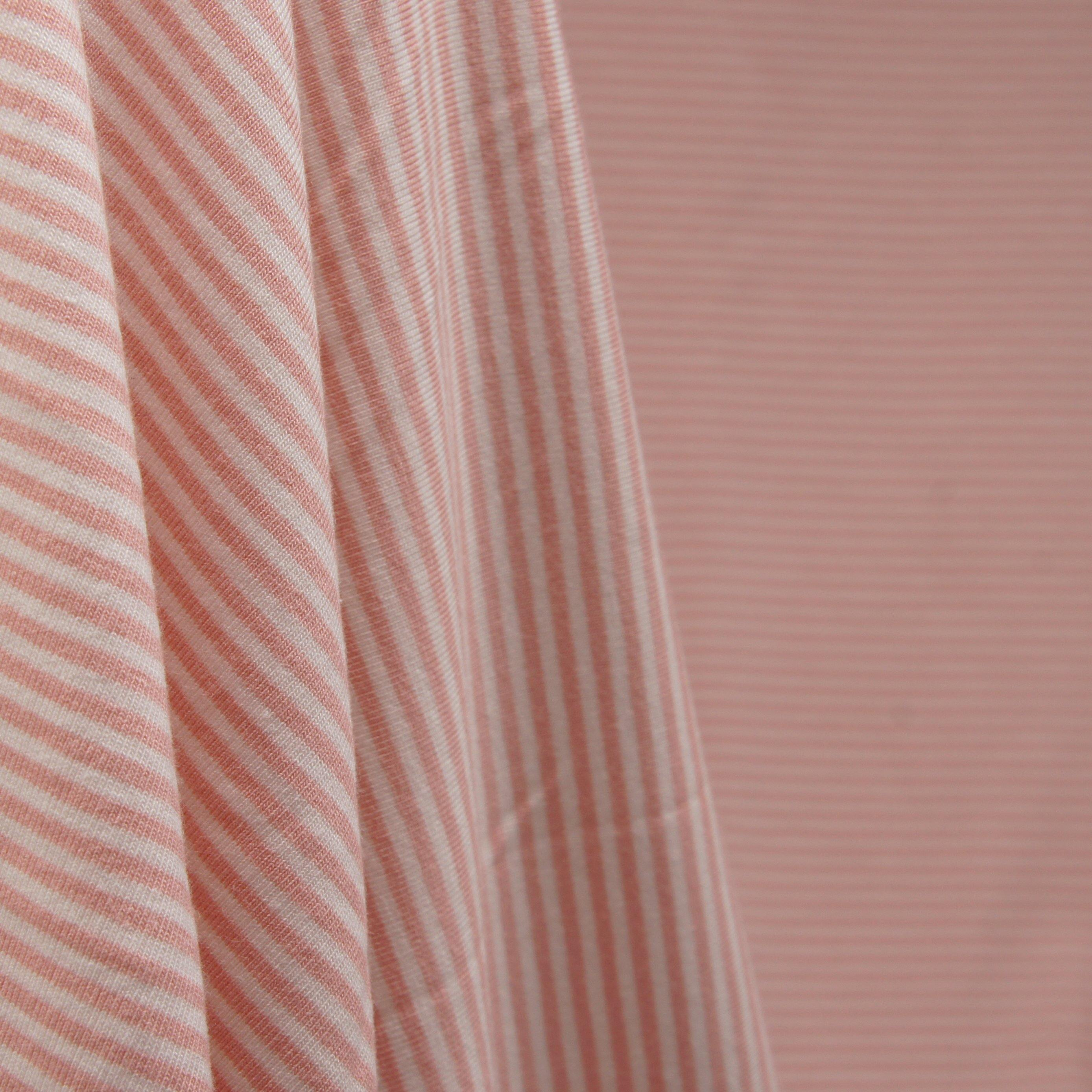 Bamboo Organic Cotton Spandex Jersey - Mellow Rose 2mm Stripes - Earth Indigo