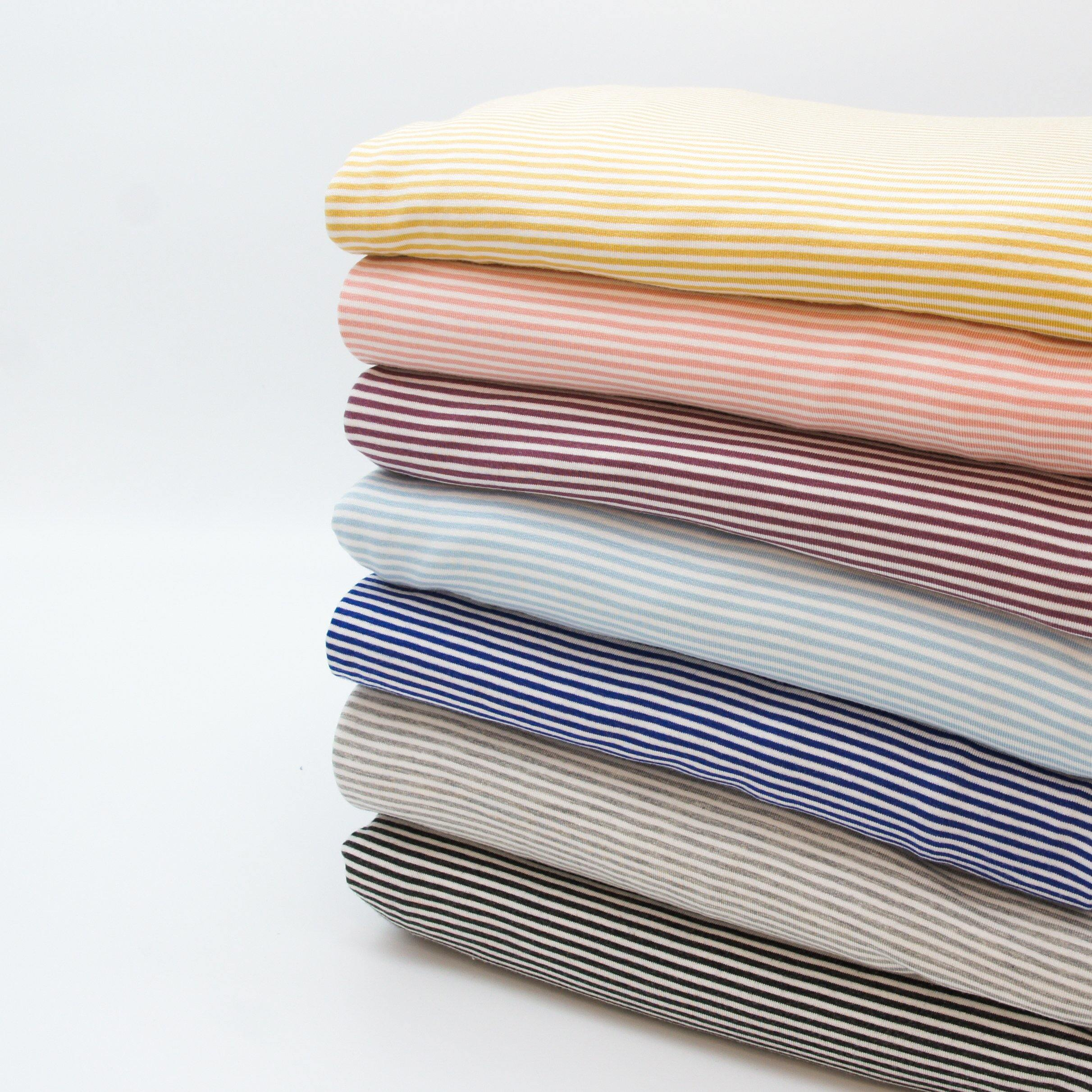 Bamboo Organic Cotton Spandex Jersey - Golden White 2mm Stripes - Earth Indigo